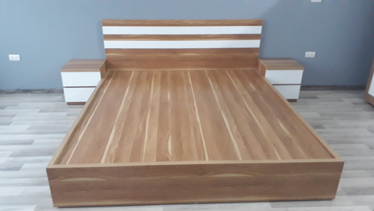 Mẫu giường ngủ 1.8m gỗ MDF phủ melamine giá rẻ