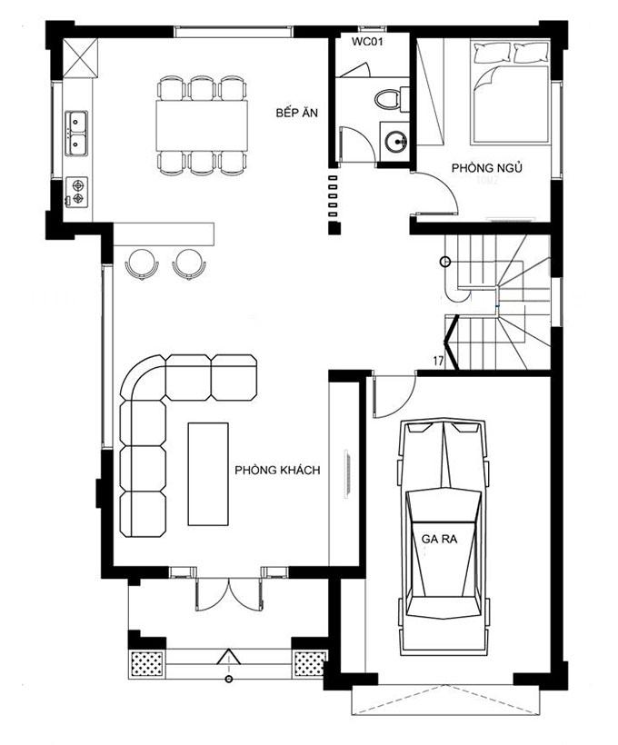 MB Tầng 1 - Biệt thự có gara ô tô