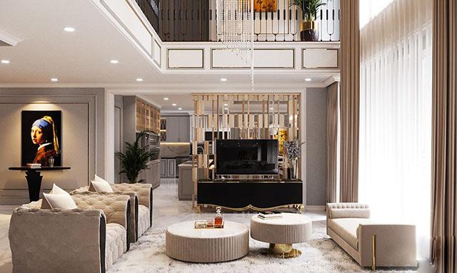 Phòng khách - Thiết kế nội thất biệt thự cách tân đẹp cao 2 tầng 210m2